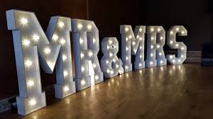 Mr And Mrs Light Up Sign Hire Mr Mrs Blue Goose Wedding Event Hire