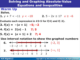 solving and graphing absolute value equations inequalities 2 8
