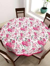 swayam white round fl print 72 cotton table cloth