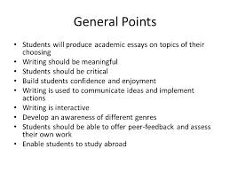 academic writing by paul stone fwu aep general points students 2 general points students will produce academic essays on topics
