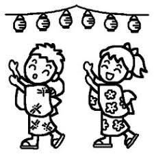 盆踊り1白黒夏祭り盆踊りの無料イラストミニカットクリップ