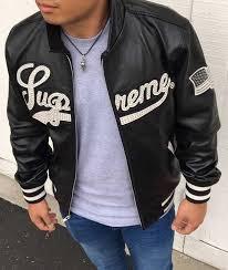 new supreme 16ss uptown studded leather varsity jacket leather jacket black m size brand
