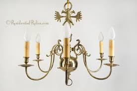 large double eagle 6 candle brass chandelier circa 1940s