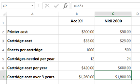 price comparison sheet excel excel formulas buying a printer cost comparison
