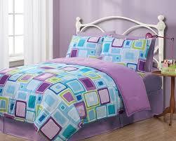 twin geo aqua square reversible comforter set
