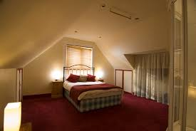 carpet floor bedroom. Architecture, Red Carpet Flooring Cream Wall Paint Desklamp Nightstand Bedlinen Pillows Headboard Windows Curtain Attic Floor Bedroom W