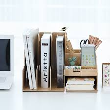 Diy office desk accessories Modern Wooden Color Office Desk Organizer Diy Document File Cabinet Multifunction Desk Accessories Storage Magazine Book Desk Shelfin Desk Set From Office Aliexpress Wooden Color Office Desk Organizer Diy Document File Cabinet