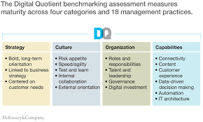closing the digital gap in pharma company the digital quotient benchmarking assessment measures maturity across four categories and 18 management practices