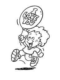 Kleurplaat Jongen Met Ballon I Love You Kleurplatennl