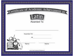 Latin Academic Achievement Certificate Template Download