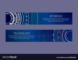Banner Patterns Cool Technology Banner With Two Interface Patterns Vector Image