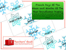 French Days Of The Week French Days Of The Week And Months Of The Year Snowflakes Display