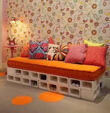 cinder block furniture. a sofa bed made with 42 white concrete blocks cinder block furniture