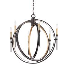eurofase infinity candle style orb chandelier oil rubbed bronze and gold leaf framework 6 b10 light bulbs 26 75 inches in diameter 25647 013