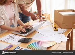 Interior Designer Laptop Closeup Shot Interior Designer Working Client Consulting Him