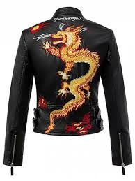 outfits dragon embroidered stand collar faux leather jacket black l