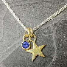 true blue little star gold star and sapphire pendant