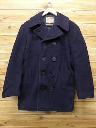 old clothes vintage pea coat wool dark blue navy large size used men outer