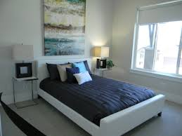 Bedroom:Stunning Bedroom Color Scheme Idea With White Wall And Dark Blue Bed  Sheet Captivating