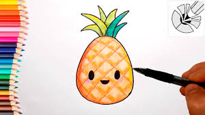 pineapple drawing. cute drawings - how to draw a pineapple and color drawing