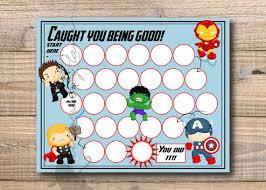 Avengers Potty Chart Reward Chart Super Hero Reward Chart Printable Instant