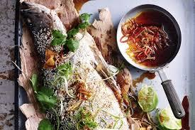 roasted whole barramundi with ginger soy dressing