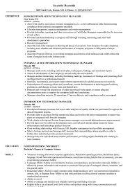 Information Technology Manager Resume Samples Velvet Jobs