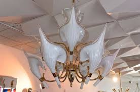 beautiful murano calla lily chandelier by franco luce for 6