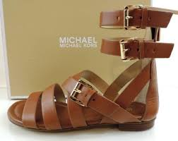 womens michael kors jocelyn flat gladiator sandals leather luggage brown size 6