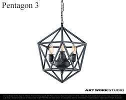 3 pentagon pentagon art work studio studio artwork 3 light iron ceiling lighting light lamp pendant