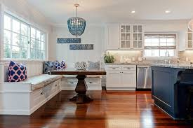 Coastal Style Cottage Kitchen With White Cabinets, Marine Blue Island,  Granite Countertops And Window