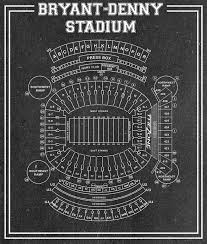 Alabama Seating Chart Bryant Denny Vintage Print Of Bryant Denny Stadium Seating Chart By