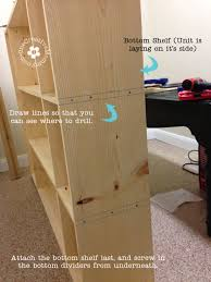 diy storage lockers for kids attaching the bottom dividers onecreativemommy com