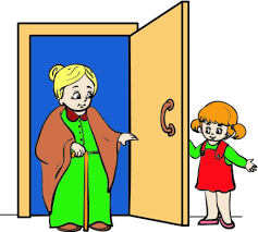 resepct and leadership little girld holding open door for grandmother shows respect for others