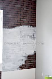 Painting Fake Brick Paneling White Brick Accent Wall First Home Love Life
