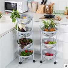 plastic circular multi layer furniture rack kitchen vegetable and fruit collection rack sorting basket