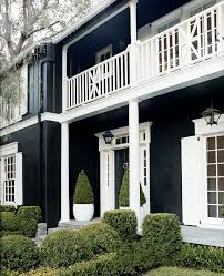 Georgian house painted black with white trim