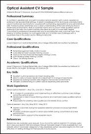 Optician Resumes Resume Summary Examples Sales 31352 Cd Cd Org