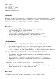 Coaching Resume Templates Professional Assistant Swim Coach Templates To  Showcase Your Templates