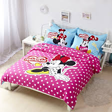 hot pink polka dot minnie mouse blue sheet bedding sets