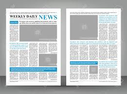 Creative Newspaper Template Newspaper Template Layout Print Design With Blue And Black Elements