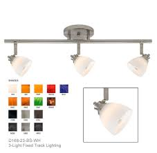 directional track lighting. d16823bswh shown with brushed steel finished w white shades directional track lighting e