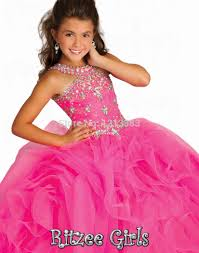 2014 Latest Design <b>Scoop Neck Ruffles</b> Organza <b>Hot</b> Pink Glitz Kids ...