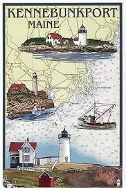 Boat Chart Kennebunkport Maine Nautical Chart Lighthouses Boat Me