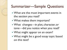 literature circles ppt  25 summarizer sample questions