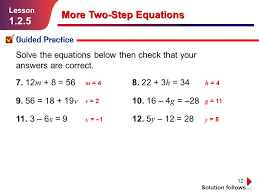 more two step equations ppt lesson 2 homework practice solve