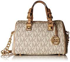 Michael Kors Medium Grayson Logo Satchel, Vanilla