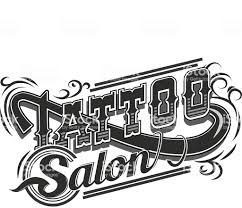 Vector Tattoo Salon Logo On White Background Cool Retro Styled Stock