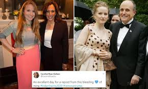 Shortly after vanity fair published caroline giuliani's scathing personal essay thursday in which she torched her father and implored voters to elect joe biden, rudy giuliani's daughter. Rudy Giuliani S Daughter Tweets Picture With Kamala Harris Saying Remove Trump Daily Mail Online