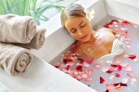 Spa Relax In Flower Bath. Woman Health And Beauty. Closeup ...